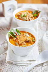 The eggplant curry pork with spicy Thai food,shallow Depth of Field,Focus on pork.