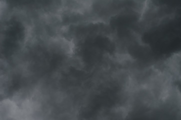 Bacground of gray thunderstorm clouds, gloomy skies in bad weather