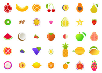Colorful flat fruit icons set. Isolated on white. Vector illustration