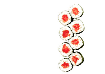 Sushi Set. Hand Drawn Watercolor Illustration. Japanese Traditional Cuisine Illustration With Isolated Objects. Collection Of Colorful Sushi And Rolls On White Background