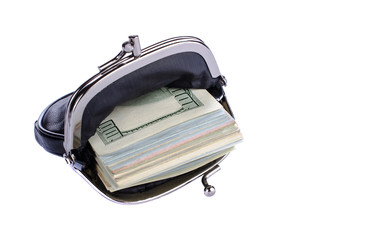 Dollars in black purse white background.