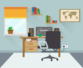 Modern workplace in room. Workspace creative theme. Flat minimalistic style. Flat design with long shadows. Vector.