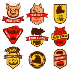 Pork meat, butcher shop labels.
