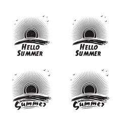 Set of logos, badges, stickers, icons of summer sun over sea wave. Grunge style. Black and white vector illustration