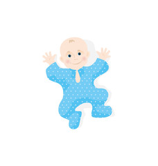 Illustration of newborn on white. little baby smiling with small