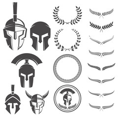 Set of the spartan warriors helmets and design elements for embl