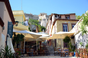 Plaka area under Acropolis Athens Greece