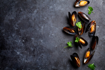 Mussels and parsley