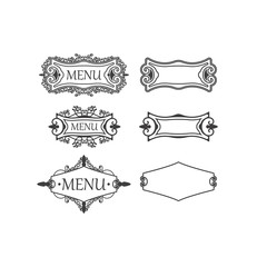 Set of three vintage frames with decorative and floral elements for decoration, retro  suitable  menu decorations, cards, invitations. Vector illustrations