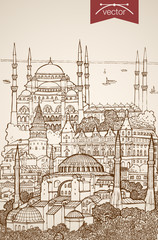Engraving vintage hand drawn vector Turkey Istanbul Sketch