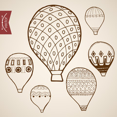Engraving vintage hand drawn vector flying balloon Pencil Sketch