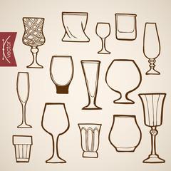 Engraving vintage hand drawn vector stemware Cognac wine Sketch