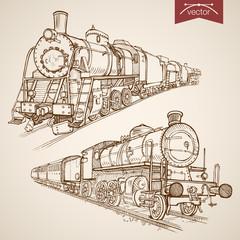 Engraving vintage hand drawn vector train transport Sketch