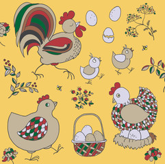 Farm set: chicken, rooster, chicks, basket with eggs, nest, twigs