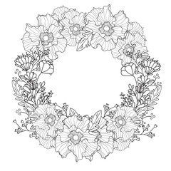 Vector vintage round frame with flowers. Floral wreath. Black and white. Good for wedding card, invitation, greetings.