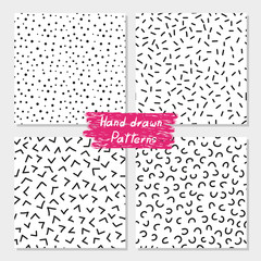 Set of hand drawn seamless patterns. Collection of abstract black and white  vector backgrounds for your design.