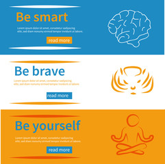 Horizontal banners set with texts be yourself, be brave, be smart and symbols