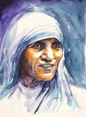 26 July 2016 Portrait of Mother Teresa also known as Blessed Teresa of Calcutta.Mother Teresa was an Albanian Roman Catholic nun and missionary.Picture created with watercolors.