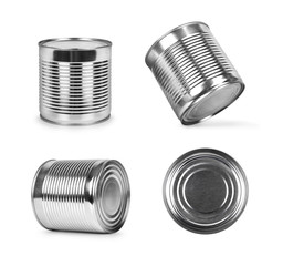 metal cans in different angles isolated on white background