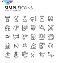 Modern thin line icons of business and marketing. Premium quality outline symbol collection for web design, mobile app, graphic design. Mono linear pictograms, infographics and web elements pack.