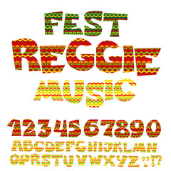 reggae music color font. Jamaica style ABC letters with tribal t