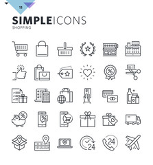 Modern thin line shopping web icons. Premium quality outline symbol collection for web and graphic design, mobile app. Mono linear pictograms, infographics and web elements pack.