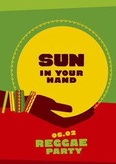 sun disk and tribal human hand with bracelets. reggae folk music