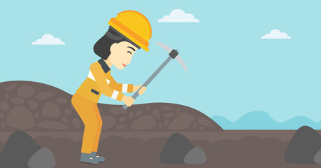 Miner working with pickaxe vector illustration.
