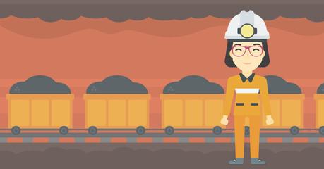 Confident miner in hardhat vector illustration.