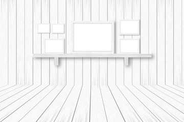 white wooden background with white frames, interior decoration,3