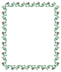 Color frame with abstract flowers. Vector clip art.