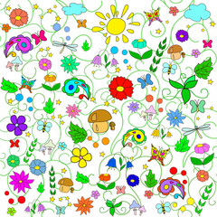 Children's summer pattern with flowers, leaves, mushrooms, sun, clouds, dragonflies, bees, stars and butterflies on white background, can be used for wallpaper, pattern fills,surface textures.