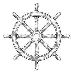 Ship wheel isolated on white background. Vector vintage engraving illustration with title MARINE.