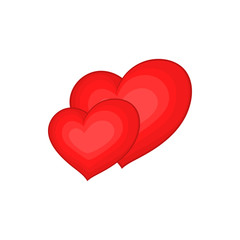 Two red hearts icon in cartoon style isolated on white background. Love symbol