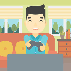 Man playing video game vector illustration.