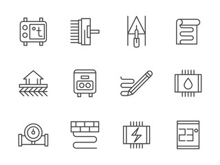 Warm floor black line vector icons set