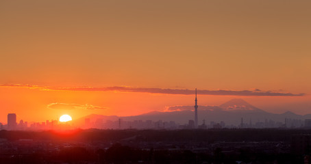 Sunset landscape and Tokyo city view