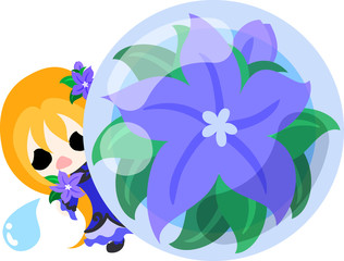 A cute little girl and the crystal of purple flower