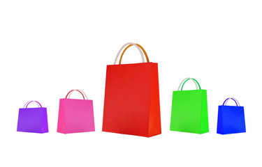 Colorful paper shopping bags with different sizes