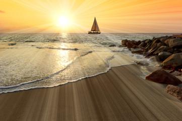 Wall Mural - Sailboat Sunset Sun Rays