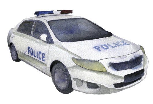 watercolor sketch of police car on white background