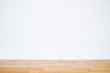 Empty wall with wooden floor background.