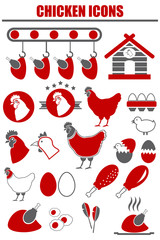 Vector Chicken icon set .