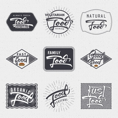 Natural foods, organic , festival, good food - labels, stickers, hand lettering, was written with the help of calligraphy skills and collected templates using typographic rules