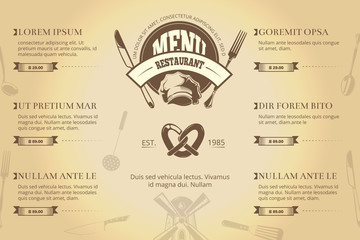 Restaurant or cafe menu brochure vector template. Vintage creative design for restaurant menu with chef hat, fork and knife