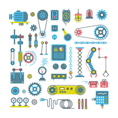 Vector parts of mechanism and robots flat icons. Illustration mechanical part and gear of parts for equipment machine