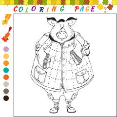 Coloring book for kids. Outline illustration for coloring