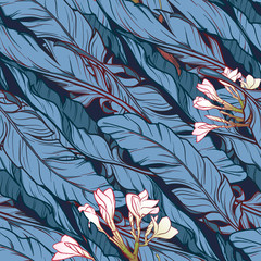Banana leaves and frangipani flower diagonal pattern