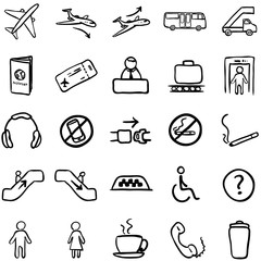 Vector Set of Black Doodle Airport Icons