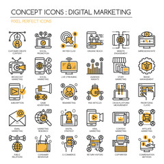Digital marketing , Thin Line and Pixel Perfect Icons